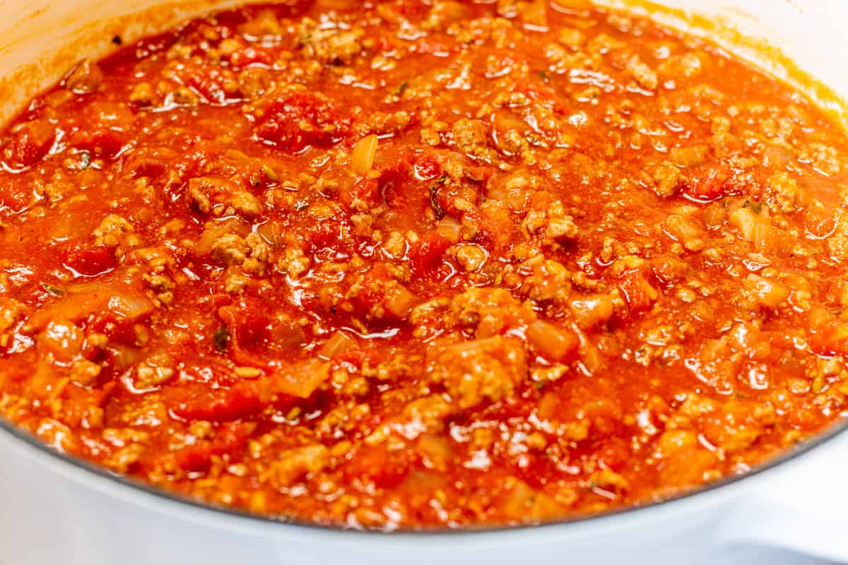 lasagna meat sauce ready to simmer