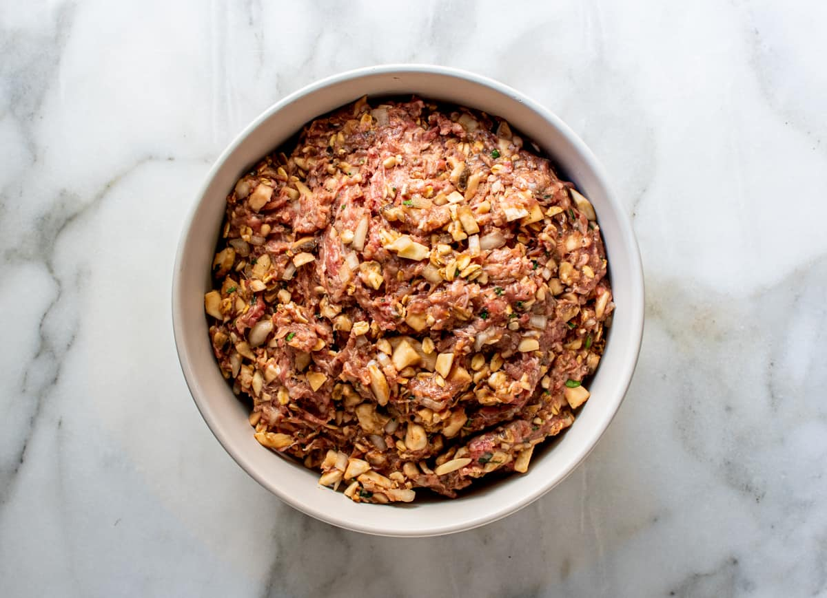 meatloaf mixture in a white bowl