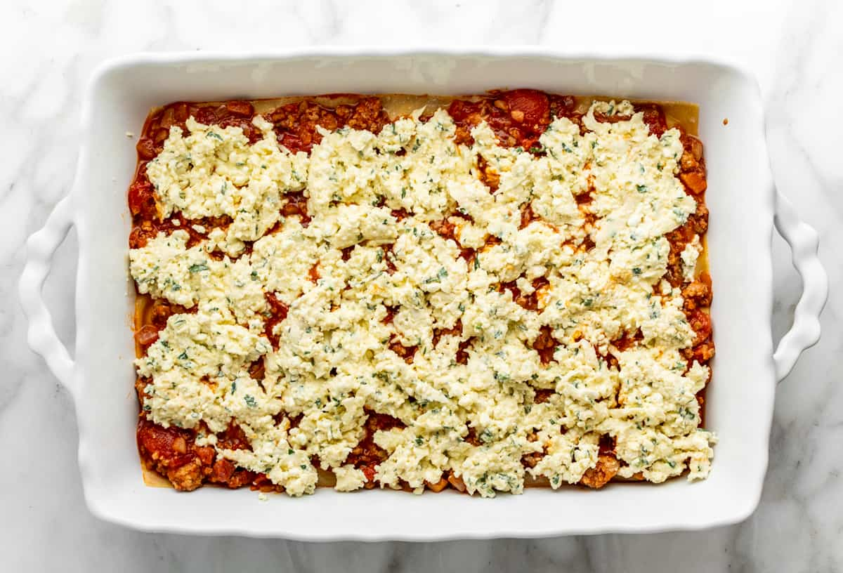 second cottage cheese layer in lasagna