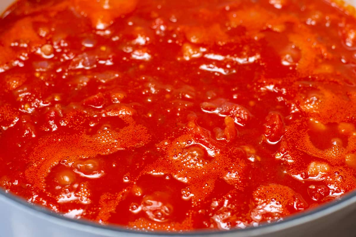 tomatoes and juice added and bubbling
