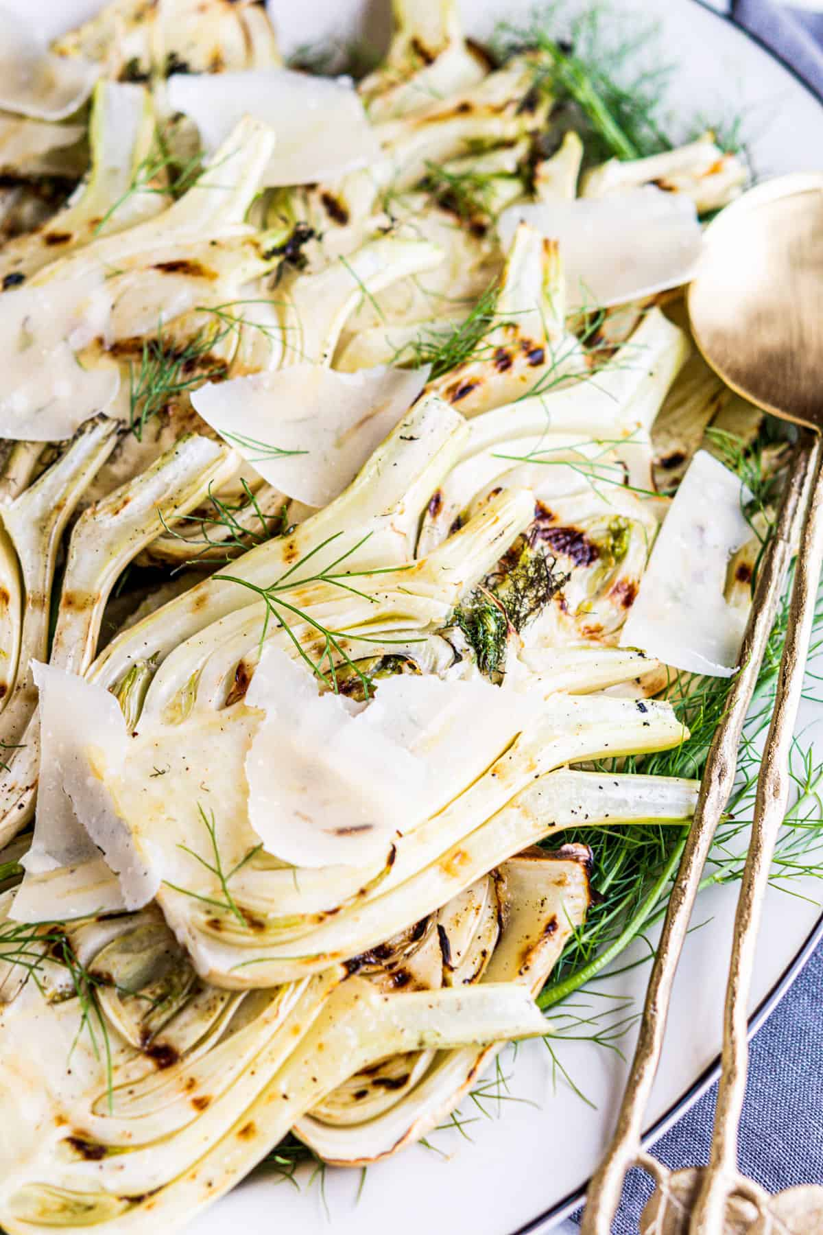 Grilled Fennel on an oval white platter.