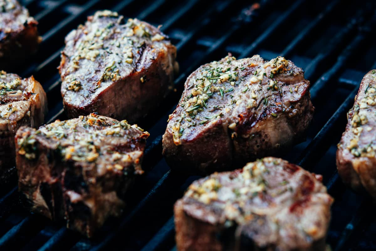 Lamb Loin Chops on the grill ready to serve