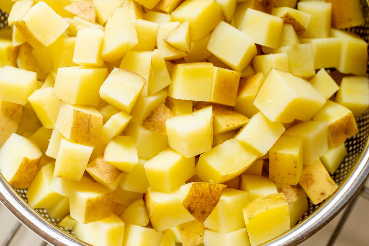 drained cooked potato cubes