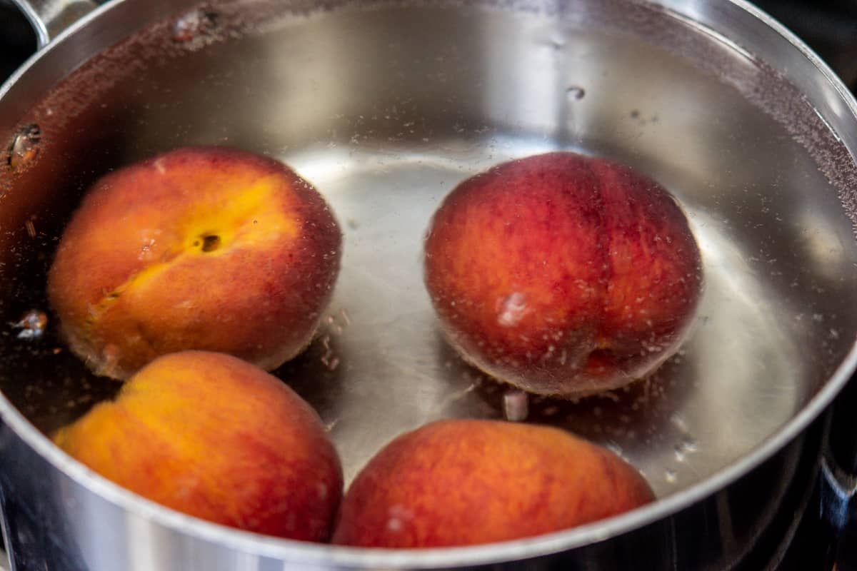 peaches in boiling water.