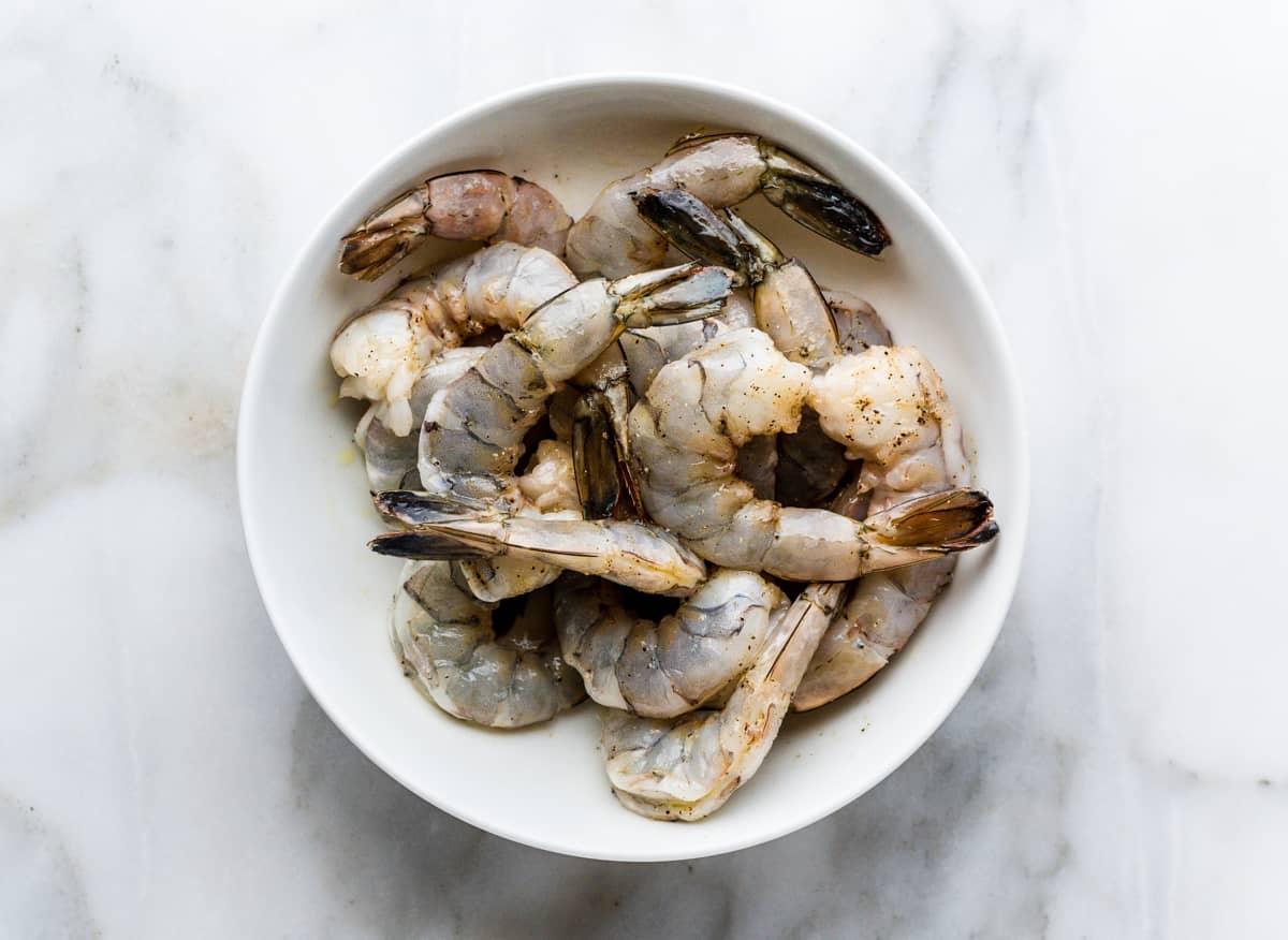 shrimp tossed with olive oil salt and pepper