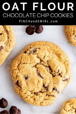 Oat Flour Chocolate Chip cookies on a plate.