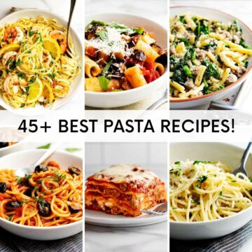 A grid of 6 images of pasta recipes.