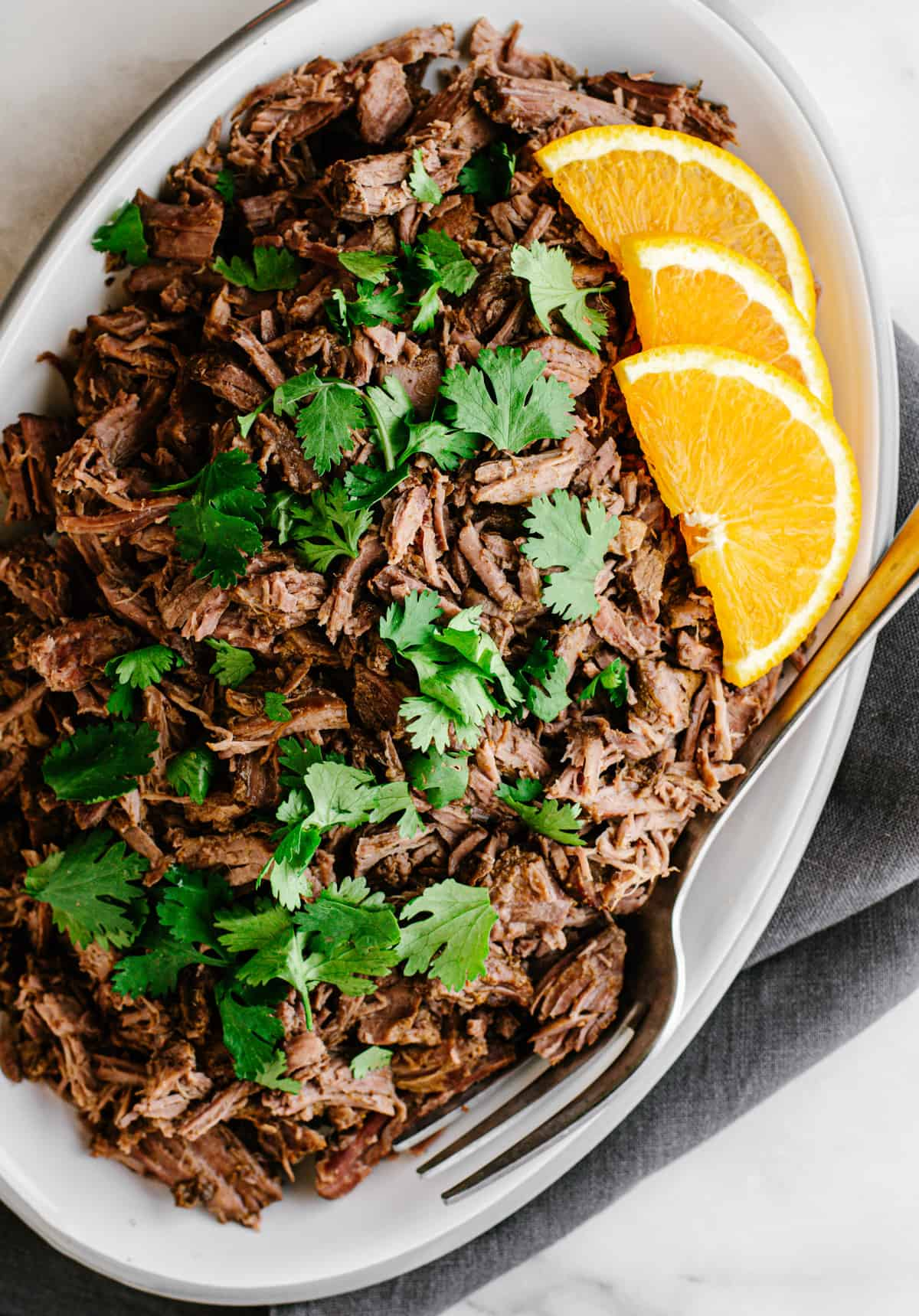 shredded lamb barbacoa served on an oval platter photographed from above.